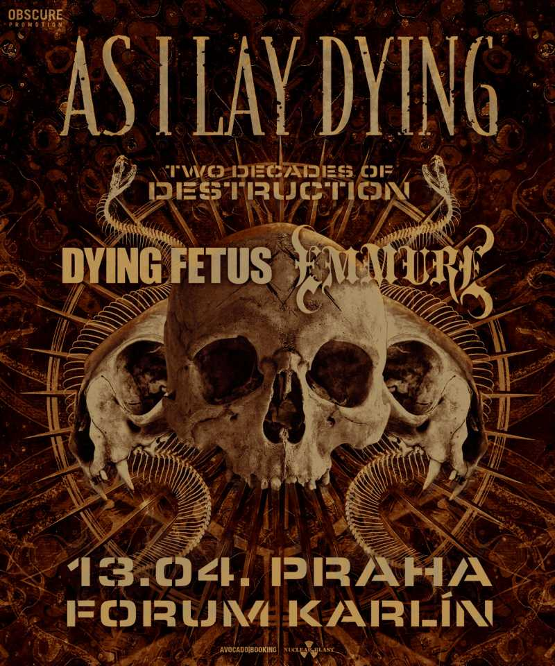 AS I LAY DYING, DYING FETUS, EMMURE PRAHA (poster)